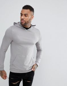 ASOS Lightweight Muscle Hoodie in Gray - Gray