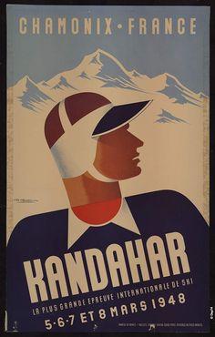 """Affiche, 1948 """"Chamonix - France. Kandahar - La plus grande épreuve internationale de ski. 5-6-7 et 8 mars 1948"""" Gaston GORDE, lithographie Collections du Département de la Haute-Savoie"""