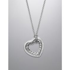 David Yurman Medium Pave Diamond Cable Heart Necklace ($900) ❤ liked on Polyvore