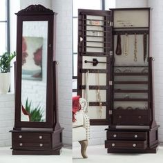 Locking jewelry armoire and adjustable fulllength mirror combined