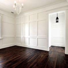 BEDROOM   Board & Batten and Shiplap Walls, Walnut Wide Plank Tung Oil Flooring, Unlacquered Brass Hardware, White Chandelier and ron Lantern