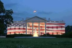 The White House with a picture of the flag.