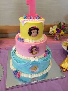 Disney Princess Birthday Party cake!  See more party planning ideas at CatchMyParty.com!
