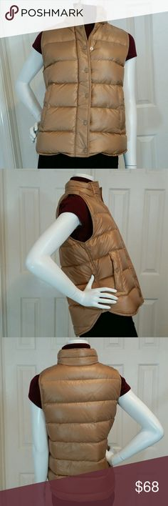J Crew Shiny Puffer Down Vest Sz S NWT This J Crew Rosy Gold Shiny Puffer Vest is perfect for fall. Over sweaters or under coats, this lightweight vest allows you to layer without the bulk. Boxy fit, hits at the hip and features down-filled nylon, standing collar, hidden zip with snap closure, side pockets and is machine washable! Wear it with jeans or over a long sleeve dress or whatever... perfect when a jacket/coat is too heavy or as an extra layer when it's cold. A Great staple for this…