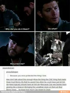 Reason 3 gazillion why Benny is the best and it shows just how important Cas is to Dean