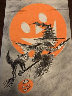 Vintage 1950s STANLEY ART GUILD HALLOWEEN Witch on Broom Black Cat Greeting Card | Collectibles, Paper, Vintage Greeting Cards | eBay!