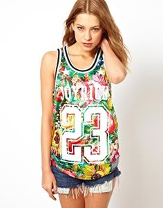 Printed sports luxe vest top - Joyrich on ASOS