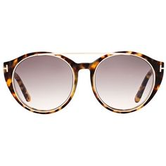 TOM FORD Joan Round Sunglasses (£234) ❤ liked on Polyvore featuring accessories, eyewear, sunglasses, double bridge sunglasses, round frame sunglasses, tortoise shell glasses, round tortoiseshell sunglasses and tom ford sunnies