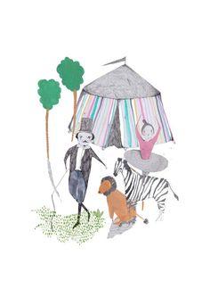 Circus. Limited edition art print by illustrator Amyisla. art print. kids art. children's decor..