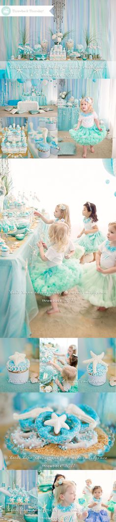 girls mermaid theme birthday party using blue, aqua, mint green, turquoise Little Mermaid Birthday, Little Mermaid Parties, Fiesta Party, 1st Birthday Parties, Girl Birthday, Birthday Ideas, Childrens Party, Party Themes, Party Ideas