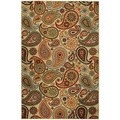 Rubber Back Ivory Paisley Floral Non-Skid Area Rug (3'3 x 5') - Free Shipping On Orders Over $45 - Overstock.com - 15770412