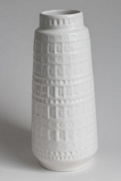 "Scheurich ""Inka"" white ceramic vase from former West Germany"
