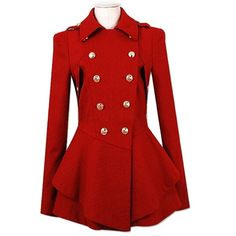 Simple Long Sleeve Pure Color Peacoat For Women