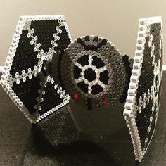 3D TiE Fighter - Star Wars perler beads by _mandaatje_ - Pattern: https://www.pinterest.com/pin/374291419007788514/