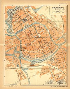 1926 Groningen City Map Street Plan Netherlands door CarambasVintage, $16.00