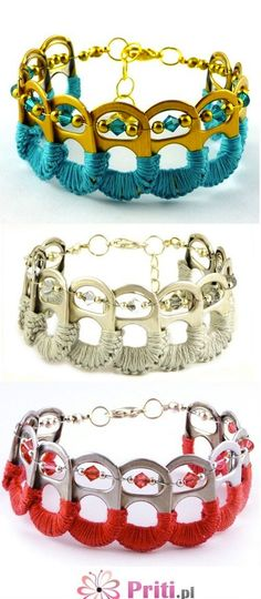 .Bracelets out of can tabs -- cute idea... wish it came with a tutorial, but I like the idea regardless and it looks like it'd be relatively simple to try and recreate.