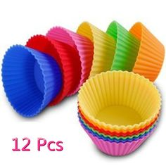 FuzzyGreen® Set of 12 Mini Muffin Reusable Silicone Baking Cups Kitchen Tool -- Click image to review more details.