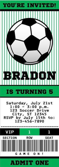 Futbol boleto invitación para imprimir de Futbol verde  SoccerSaturday Soccer  Birthday Parties 24430096090cc