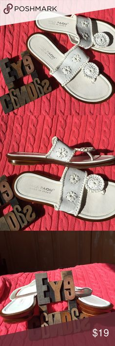 Mila Paoli White Thong Sandals Made in Italy. Jack Roger's neighbor. Pet free/smoke free home. Mila Paoli Shoes Sandals