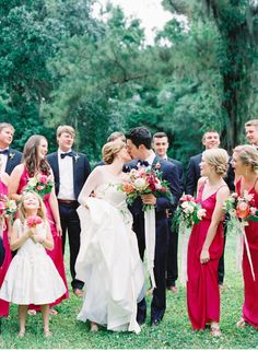 R E A L // W E D D I N G S – NATALIE DEAYALA COLLECTION charleston wedding at magnolia plantation. bridesmaid dresses in color azalea from natalie deayala