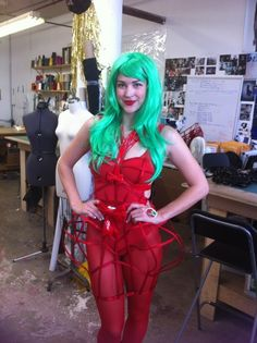 #CreepyChromat | Intern Allie in her #creepy Chromat for halloween last year | Submit your costume creation to instagram and hashtag #CreepyChromat for a chance to win the $100 prize | Check out her dress in the meantime: http://chromat.co/collections/dresses/products/jessica-rabbit-cage-dress #halloween #costumes #contest #architecture #chromatparty #littlemermaid