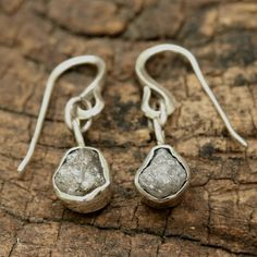 Rough diamond earrings in silver bezel with sterling silver hooks style