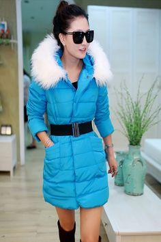 Winter Zipper Long Blue Polyester Coat