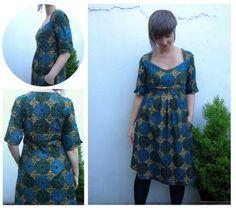 Simplicity 1800: Amazing Fit dress in Dutch wax print cotton via Ivy Arch