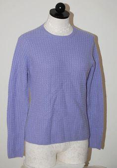 IRIS SINGER 100% Cashmere Lavender Cableknit Crewneck Sweater M #IRISSINGER #Crewneck