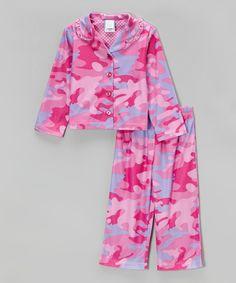 Look at this Candlesticks Pink Camo Ruffle Pajama Set - Toddler
