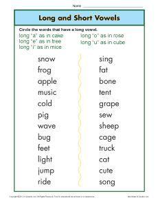 Printable Long and Short Vowel Worksheet Activity for Kids