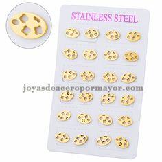 aretes de galleta especial en acero dorado inoxidable - SSEGG504129