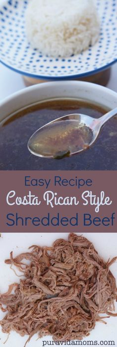This Costa Rican shredded beef recipe is the base for lots of amazing typical dishes. Easy to make in the crockpot, and yields a savory beef broth as well.