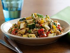 Toasted Israeli Couscous Salad with Grilled Summer Vegetables recipe from Bobby Flay via Food Network