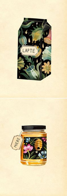 Oh. My. These are packaging illustrations by Romanian artist/illustrator Aitch.