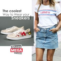 Denim & Embroidery = O πιο cool συνδυασμός! #shoesmegastores #sneakers #newcollection #flowers