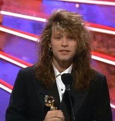 "Jon Bon Jovi @ 1991 Golden Globes - P.S. He won for ""Young Guns II Soundtrack: Blaze of Glory""! ☺"