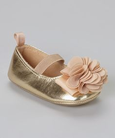 This Stepping Stones Gold Metallic Flower Flat by Stepping Stones is perfect! #zulilyfinds