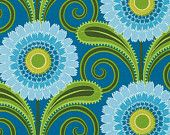 Jane Sassaman Daisy Chain Teal fabric 1 yard