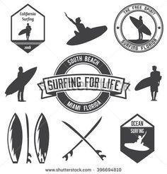 Set Of Surfing Logos Bundle Emblems And Badges Vector Illustration
