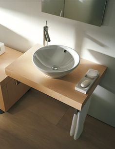 Wall mounted countertop wash basin and Duravit Fogo American Walnut 550 x 800mm Console