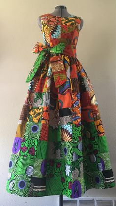 Fall Forest African Wax Handmade Patchwork Sleeveless Maxi Dress With Pockets and Sash African Attire, African Fashion Dresses, African Dress, Ankara Maxi Dress, Maxi Dresses, Moda Afro, The Dress, Look, Stylish