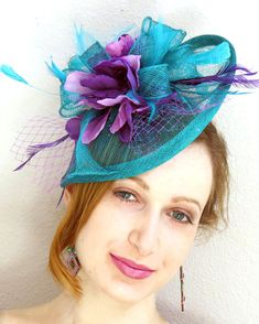 eb7e0766a5e87 Items similar to Kentucky Derby fascinator Blue Turquoise teal Fascinator  hat feather fascinator wedding hat STAVVY FRESH on Etsy