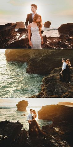Engagement shoot featuring rocky cliffs with foamy waves and magnificent view // Following their dramatic ballroom wedding and gritty day-after-wedding photo shoot, Joshua and Cheryl are back to steam up our screens with a pre-wedding in Bali captured by Gustu of Maxtu Photography. Whether at a volcano, lake, waterfall, beach or cliffs, the connection Joshua and Cheryl share is palpable. {Facebook and Instagram: The Wedding Scoop}