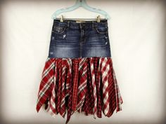 Hey, I found this really awesome Etsy listing at https://www.etsy.com/listing/227827738/s-m-denim-red-plaid-bohemian-skirt