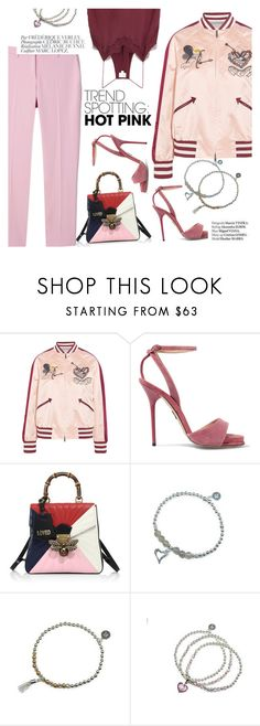 """""""Hot pink"""" by lux-life ❤ liked on Polyvore featuring Valentino, Paul Andrew, Gucci, Cami NYC, Bela, Haute Hippie, contestentry and NYFWHotPink"""