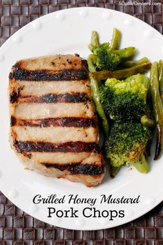 Grilled Honey Mustard Pork Chops ~ part of our 31 Days of Grilling Recipes Series | 5DollarDinners.com