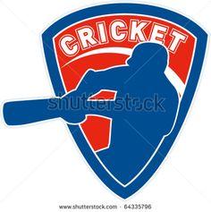 vector illustration of a cricket sports player batsman silhouette batting set inside shield - stock vector #cricket #retro #illustration