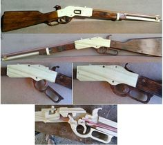 1873 Winchester rubberband gun of Willem Rubber Band Gun, Homemade Weapons, Lever Action, Wood Plans, Crossbow, Wood Toys, Rifles, Diy Toys, Handmade Wooden