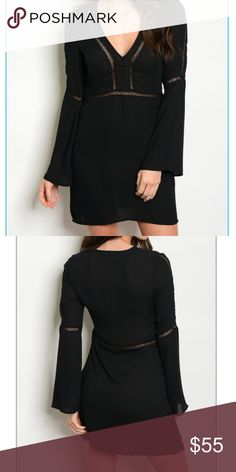 """🎀COMING SOON! 🖤 Stunning Black Dress 🖤 Fabric Content: 100% POLYESTER Size Scale: S-M-L Description: L: 33"""" B: 32"""" W: 26"""" Dresses"""